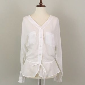 Ann Taylor LOFT White Buttondown cinch waist top